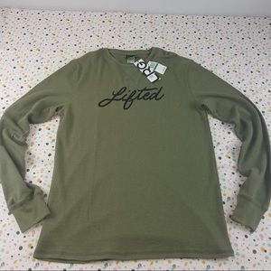 LRG Large Green with black long sleeve shirt